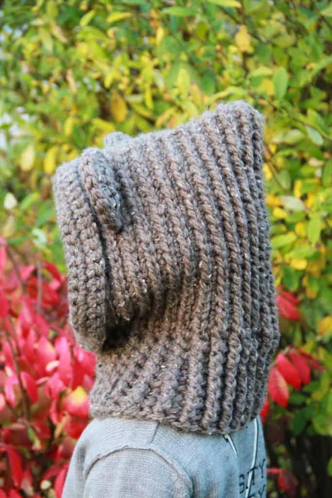 Side view of crochet bear cowl