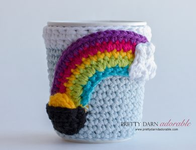 crochet rainbow cup cozy