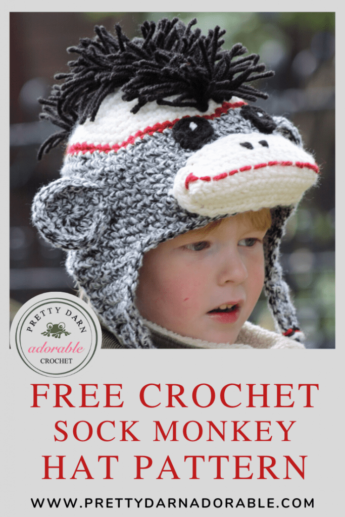 childs crochet sock monkey hat