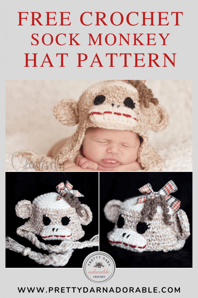 baby girl crochet sock monkey hat with curls