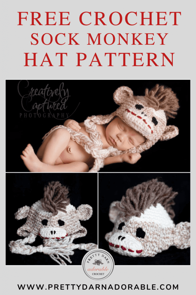 boys crochet sock monkey hat with mohawk