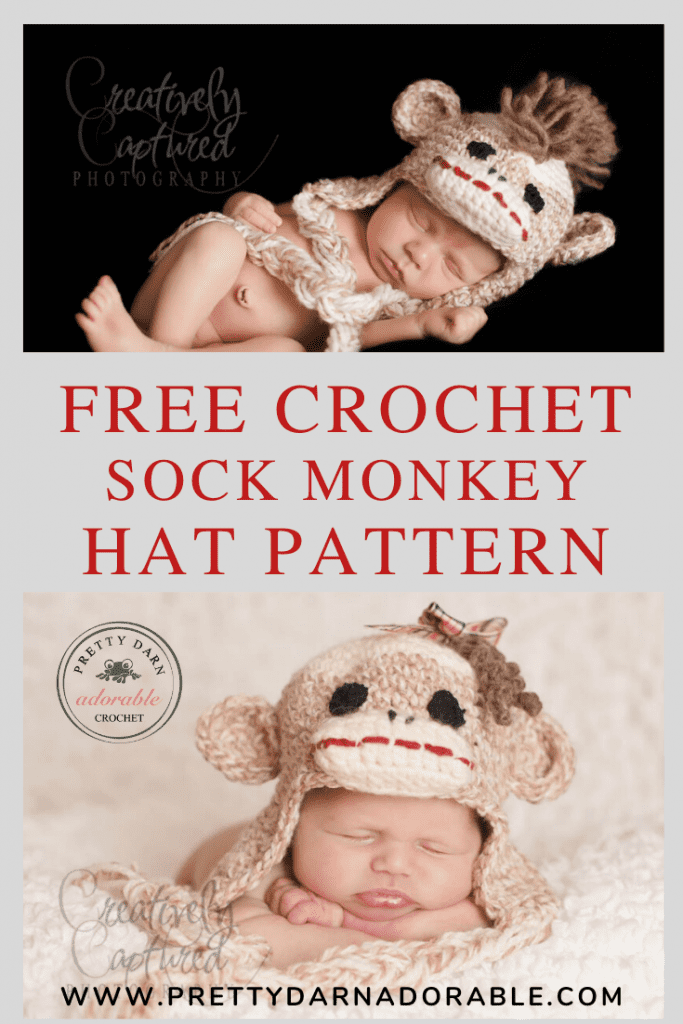 boys and girls crochet sock monkey hat