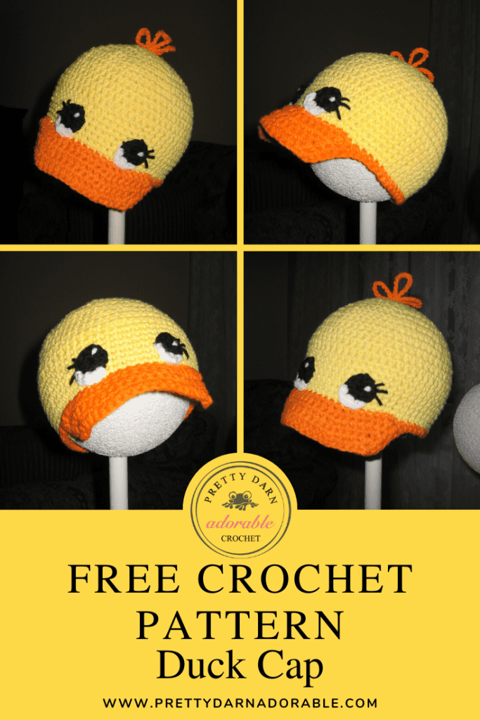 4 different angles of crochet duck cap
