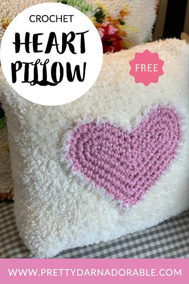 crochet cushion cover with heart